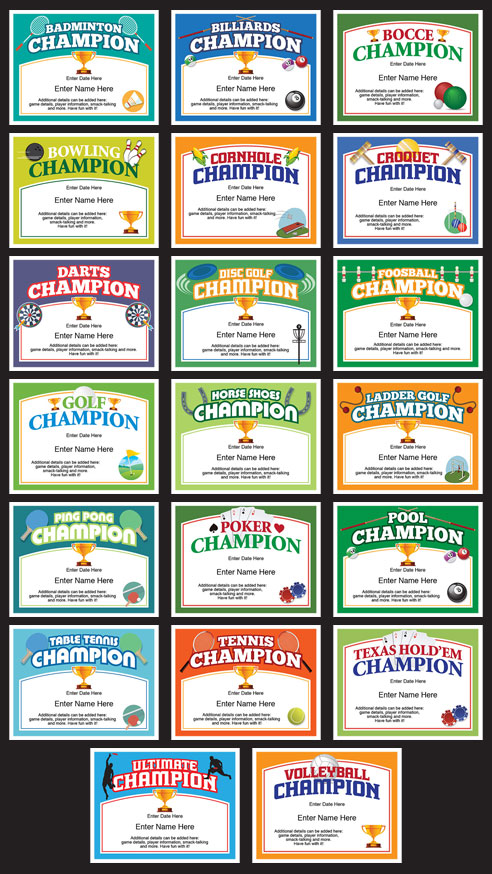 champion certificates grid