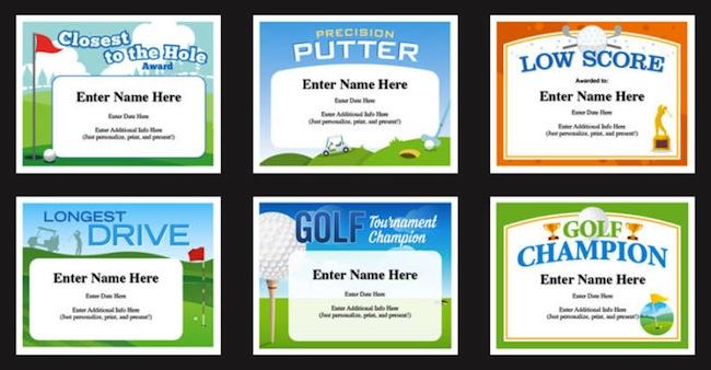 golf award certificate designs
