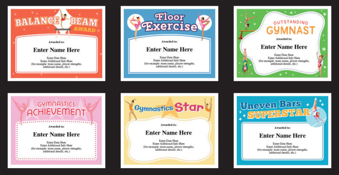 gymanstics award certificates