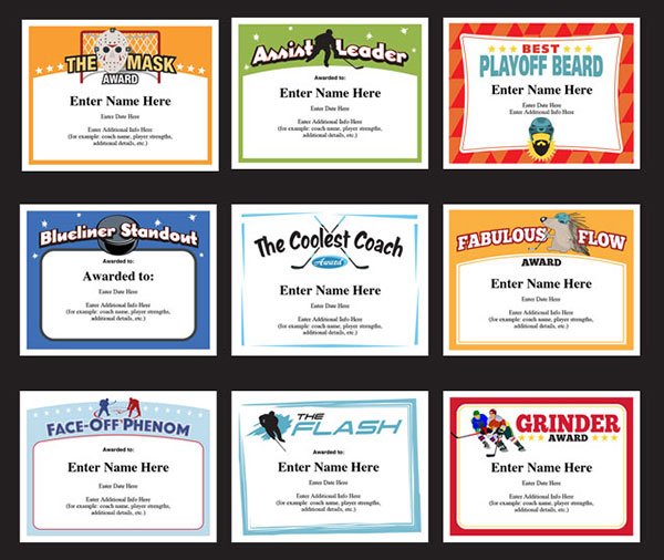 hockey certificate templates A