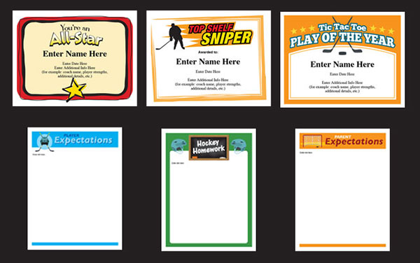 hockey certificate templates C