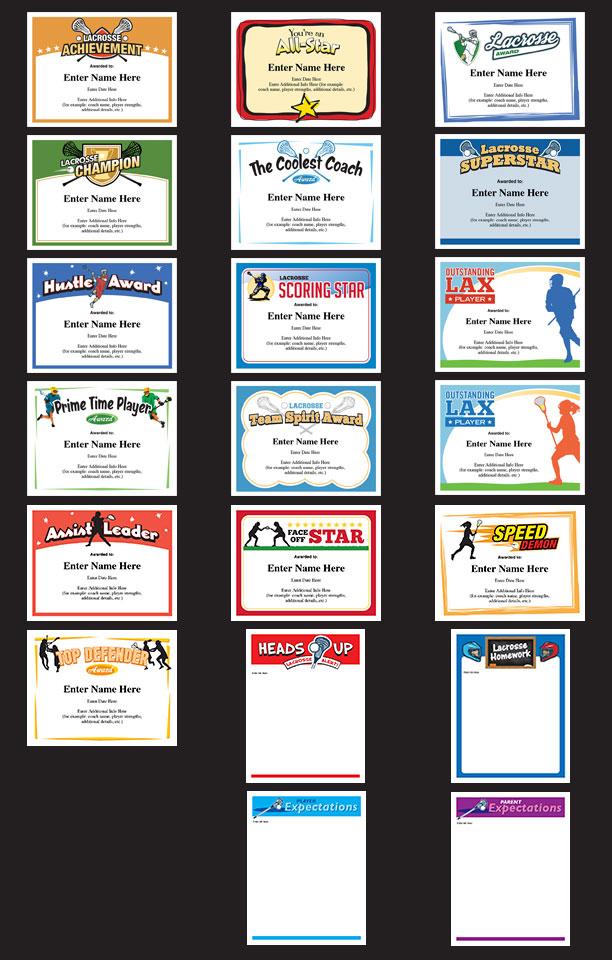 lacrosse award certificates grid