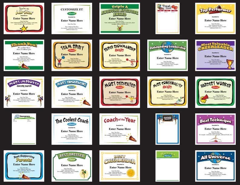 Cheerleader certificates image