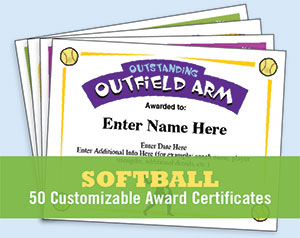 softball certificate template image