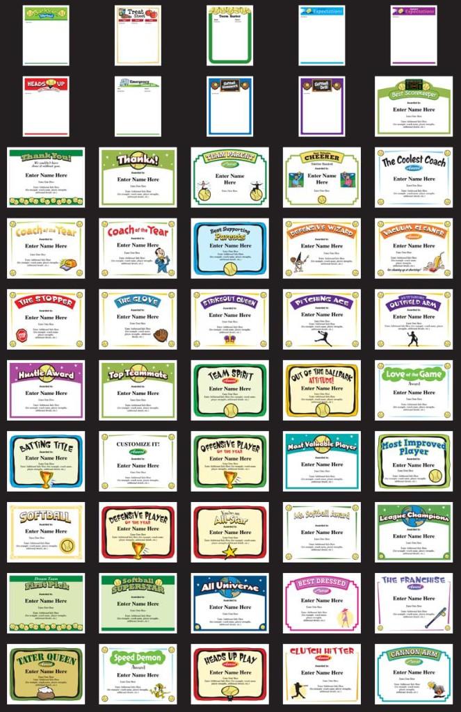 best softball certificates image