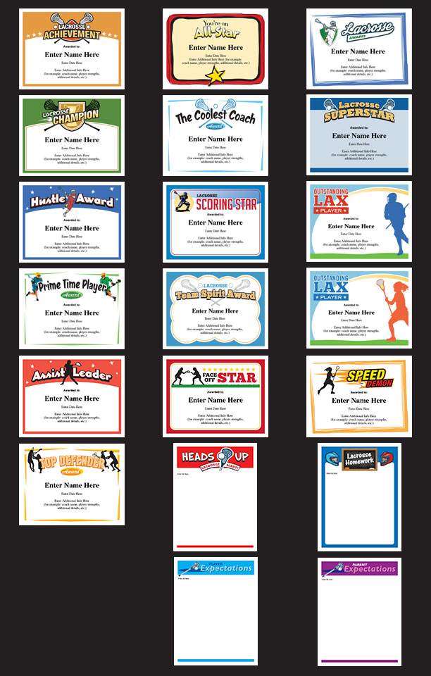 Lacrosse certificates award templates for youth teams boys and lacrosse certificates 20 designs yadclub Choice Image
