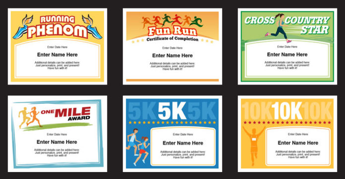 running award certificates image