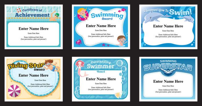 swim certificate designs array