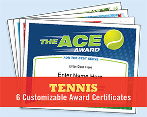 tennis award certificates button