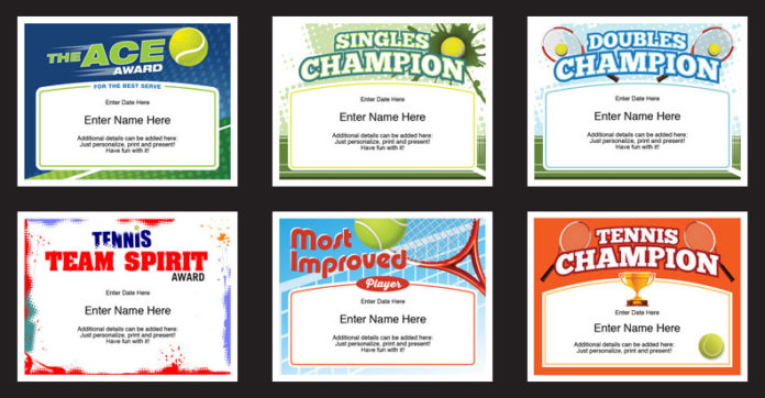 tennis certificates image